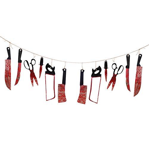 TYFYBH Decoración de Halloween Halloweenzoid Cuchillo de halloweenzoidal Barra de Bandera Ghost Casa Horror Taute Colgante Escenario Arreglo Indicador (Size : A)