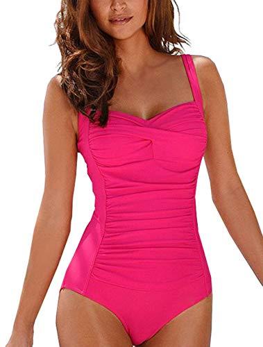 Ajpguot Verano Mujer Sexy V-Cuello Trajes de Una Pieza Impresión Traje de Baño Push Up Bikinis Monokinis Triángulo Swimwear Tankinis Talla Grande (M, 19A03 * Rosa roja)