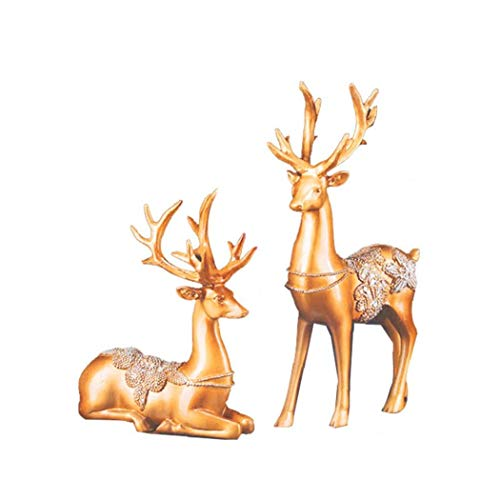 2Pcs Christmas Reindeer Resin Sculpture Deer Figurine Statue Home Office Decor Statues Family Craft Ornament Gold