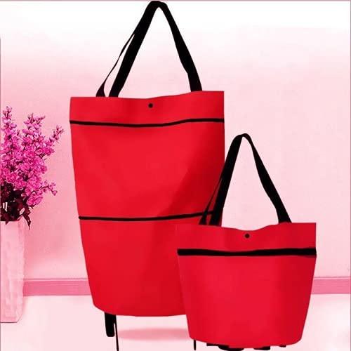 YUIf 2 en 1 Carro de la Carrito de Compras Plegable Carrito Folleable Reutilizable Eco Gran Bolsa Impermeable Equipaje Canasta Non-Tejido Mercado Bolsa Plegable Cestas Reutilizables 716 (Color : Red)