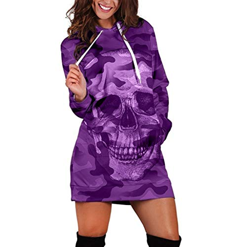 KPILP Damen Mode Langarm Hoodie Sweatshirt Lang Kapuzenpullover Mode Camouflage Schädel Pullover mit Kapuze Blusen Mantel Herbst Winter mit Kordel