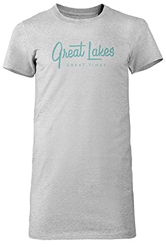 Great Lakes, Great Times - Typography Mujer Camiseta Larga tee Gris Women's Grey T-Shirt Long