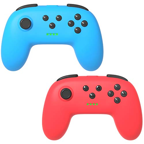 Kinvoca Wireless Switch Pro Controller for Nintendo Switch/Switch Lite, Ergonomic Joycon Pad, Joy Con Remote with Soft Touch and Non-Slip Design, Red and Blue, 2 Pack