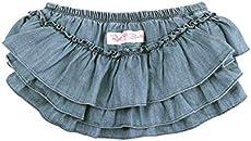 RuffleButts Baby/Toddler Girls Light Wash Denim Skirted Bloomer - 0-3m
