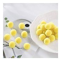RUIMA マルチサイズソフトPomponesふわふわぬいぐるみ工芸ポンポンPOMSボール毛玉のホームデコレーションスカーフ手芸用品 (Color : C13 Lemon Yellow, Size : 50mm 4pcs)
