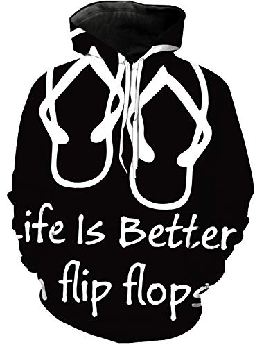 Women and Men's 3D Printed Hoodie, Beach Slippers Life is Better in Flip Flops Novelty Sweater, Leisure Hoodies with Big Pockets, Drawstring Pullover Hooded Sweatshirts