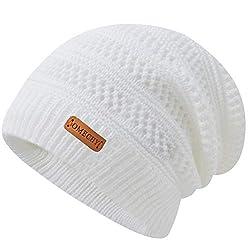 powerful OMECHY Men's Winter Knit Warm Hat Solid Cuff Stretch Beanie Toboggan White