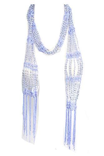 ALRINA Fishnet Beaded Scarf, Summer Belt, Infinity Scarf, Necklace (Lavender)