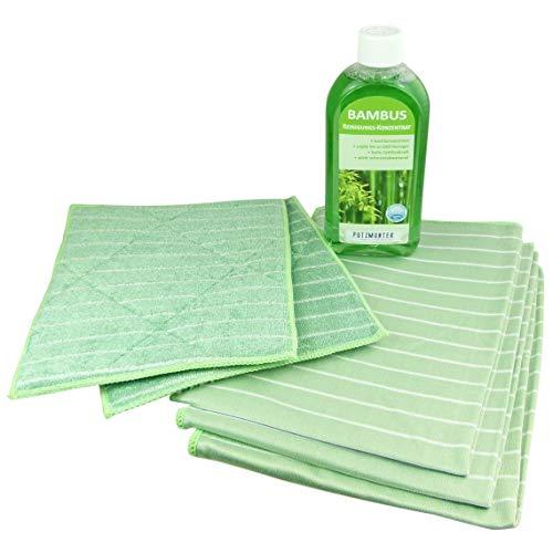 Putzmunter Neu Bambus Premium Komplett-Set 6 teilig Poliertuch Vorreinigungstuch Reiniger …