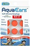AquaEars Red 3 Pair Aqua Ears Ear Plugs, Soft Silicone, made in USA