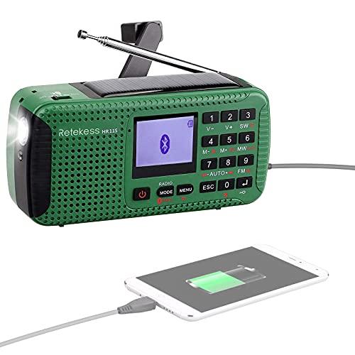 Retekess HR11S Survival Radios Solar Crank Phone Charger, Shortwave Emergency Radio, Supports SOS Alert, AM FM SW, Flashlight, TF Port, Clock (Green)