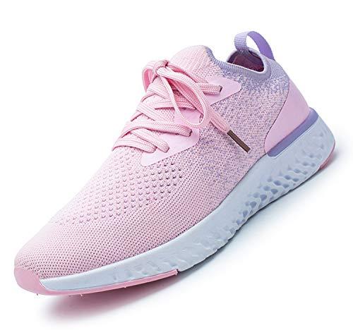 adituob Damen Strick Atmungsaktiver Trainer Sneaker Lässige Sportschuhe Leichte Wanderschuhe A-Pink38