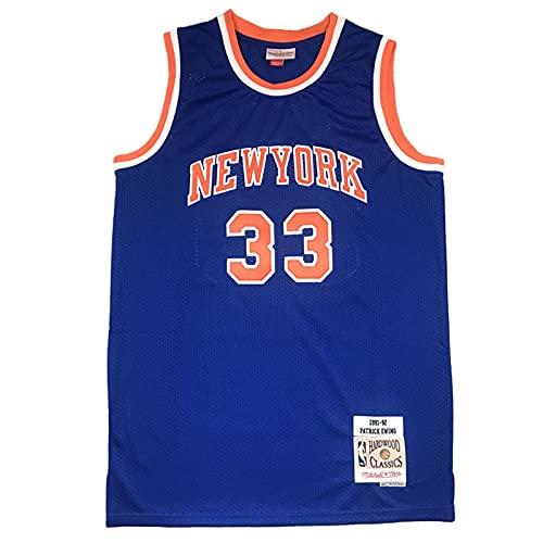 KKSY Jerseys de Hombre Patrick Ewing # 33 New York Knicks Camisetas de Baloncesto Chaleco Transpirable Retro,XL