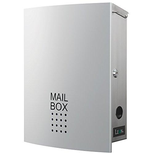 LEON (レオン) MB4504ネオ 郵便ポスト 壁掛けタイプ ステンレス製 鍵付き おしゃれ 大型 ポスト 郵便受け (マグネット付き) シルバー