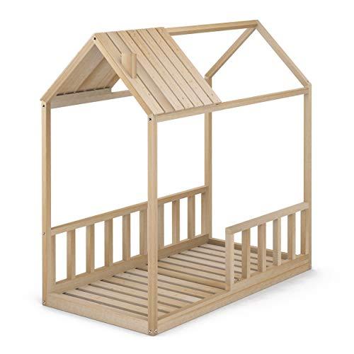 Cama Infantil Tipo Montessori, Casita Madera Natural con Barrera Barandilla, para niño y niña, 70 x 140 cm