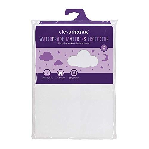 ClevaMama Waterproof Mattress Protector, Cotton Fitted Sheet for Baby Cot Bed - White - 60x120x15 cm