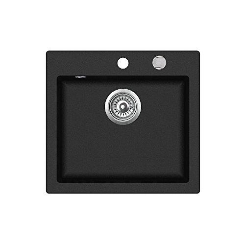 Teka 40148010Tegranit granito fregadero de cocina con único cuenco de clivo 50s-tq, metálico), color negro
