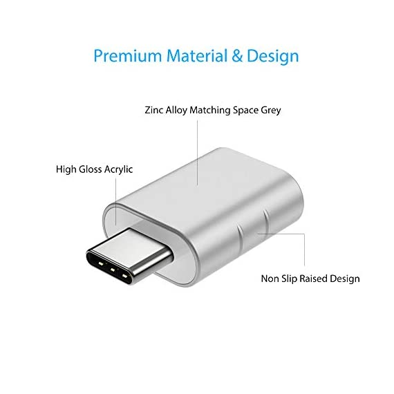 Usb c to usb adapter 4 【supreme design】design is all the heart of syntech. We manage to bring exquisiteness, stylishness and functionality together to this compact usb c adapter. The adapter is gathered with zinc alloy metallic minimalist and delicate non-slip embossment. Moreover, no-logo pattern are the best for no distracting your attention from workflow. 【compatible with all】this usb c to usb adapter is compatible with any lalptop/tablet/smartphone with a usb type-c port(except ipad pro). The usb-c to usb adapter lets you connect standard usb accessories/cables to a usb-c or thunderbolt 3 device such as macbook pro 2019/2018/2017, macbook air 2018. The adapter also supports smartphones' otg tech. 【user friendly & usb 3. 0 speed】plug and work. Plug the usb c end of the adapter into a usb-c port, and then connect your flash drive or other standard usb-a device. Also you can sync or charge your phone with this usbc to usb adapter. Data transfer speed is at the standard of usb 3. 0 5gb/s.