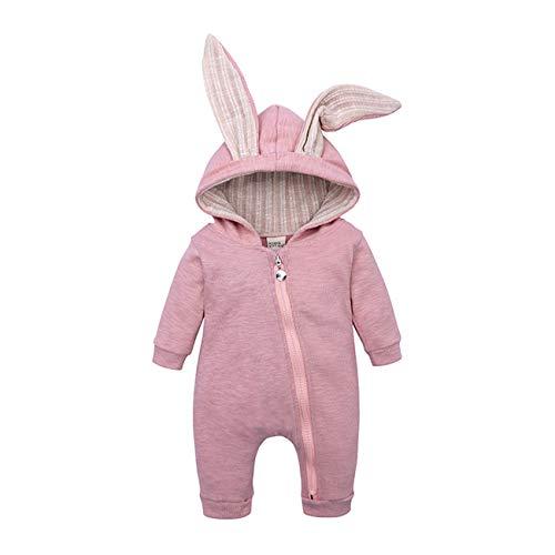 Babykaninöron Romper Nyfödda babyhuvkläder Andningsbar Babydräkt Bomull Zippad Jumpsuit Utkläder Pullover Gåvor för barn-HY2487P-röd-90