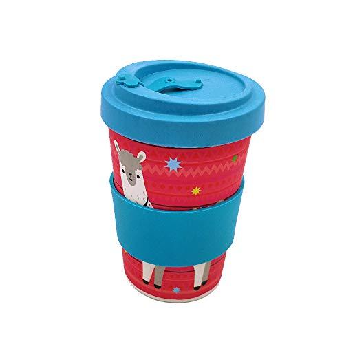 Taza para café de Fibra de bambú (Taza de café ecológica Reutilizable 420 ml, Hecha con Fibra de bambú Natural orgánica) con Agarre de Silicona(Azul)