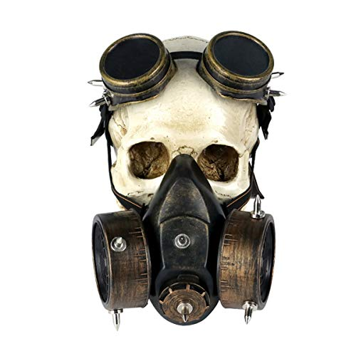 WJNSTNBL Halloween Maske, Mit Schutzbrille, Steampunk Horror Schädel Masken Für Halloween Fasching Karneval Party Kostüm Cosplay Dekoration Gruselige Ostern Mask Kopfbedeckung Horror Gasmaske,Messing