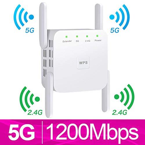 Repetidor WiFi inalámbrico 5G WiFi Extender 1200Mbps Repiter WiFi Amplificador de Largo Alcance Amplificador de señal Wi-Fi AC 2.4G 5ghz Ultraboost, 5G Blanco