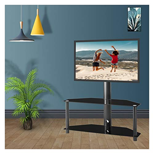 TabloKanvas Soporte para TV Soporte para Monitor Soporte para TV Soporte para TV Estante de Vidrio Templado de 2 Capas Marco de Metal Ajustable (Color : Black)