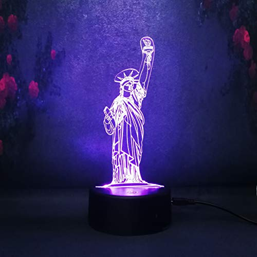3D US York Vic Goddess Night Light Decor Home Dormitorio LED Iluminación Escritorio Lámpara de mesa Regalo de cumpleaños para niños Lámparas de lámpara de lava