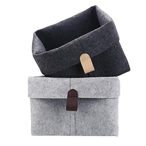 N-K Cesta pequeña maceta titular lindo fieltro bolsa mesa multifunción contenedor decoración gris