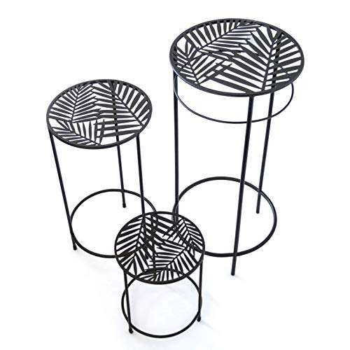 K & L Wall Art Vintage metalen bloemenkruk set van 3 retro tafelblad bloementrap 60 cm 45 cm 26 cm hoog robuuste tuintafel bijzettafel bloemenrek geweldig cadeau idee metalen decoratie Zwarte palmenpatroon.