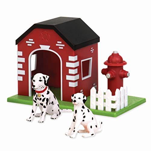 Terra AN2733Z Feuerwehr Hundehütte 3-teilig Set – 2 Dalmatiner, Hundehaus und Feuerhydrant –Tierfiguren und Zubehör Spielzeug für Kinder ab 3 Jahren, Bunt