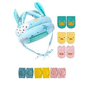 JunNeng Baby Walker Head Helmet Toddler Head Protector Bumper Bonnet with Knee Pads&Anti-Slip Socks
