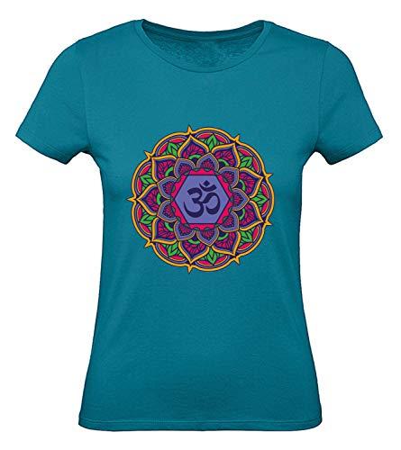 Shirt-Panda Damen T-Shirt · Mandala OM · Yoga Shirt für Frauen · 100% Baumwolle · Yogi Chakren Tshirt · fair und nachhaltig · Yogashirt · Chakra · Petrolblau M