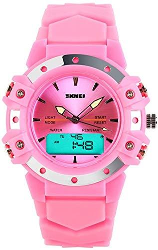 ユニセックスレディースアナログ2タイムゾーンのデジタルLEDストップウォッチクォーツ防水スポーティーな腕時計ピンク