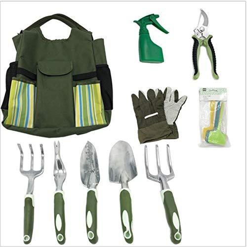 QPY Herramientas de jardinería 10 Piezas, Herramientas de jardinería con Bolsa de Tela, Guantes de jardinería, aspersor, Tijeras, Pala