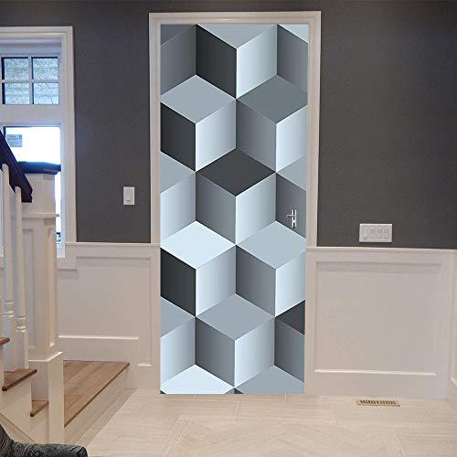 3D Etiqueta De Puerta Cubo de Rubik Autoadhesiva Extraíble Impermeable Adhesivo Decorativo De Puerta Autoadhesivo De Bricolaje Pegatinas De Pared Decoración De Hogar Arte Moderno 95X215CM