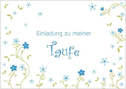 Einladungskarte zur Taufe Einladung zu meiner Taufe Klappgrußkarte/Taufkarte für EIN Mädchen in Blau/Grün mit verspielten Blumen (Mit Gutschein) (4)