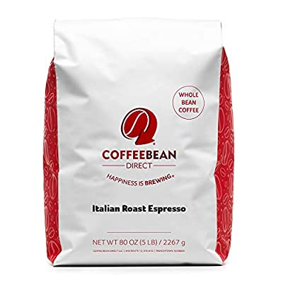 Coffee Bean Direct Italian Roast Espresso, Whole Bean Coffee, 5 Pound Bag