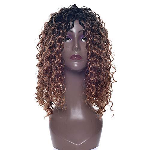 SEXYY Cheveux Perruques pour femme noire Gradient brun noir petites perruques bouclées main milieu bouclé se séparant pleine perruques,Afro résistant à la chaleur Perruque pleine crépée