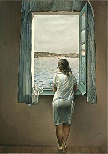XQWZM Leinwand Poster, Salvador Dali Frau Am Fenster Wandkunst Malerei Bild, Für Raumdekor Malerei 60X90 cm