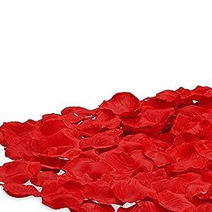 Pétalos de rosa de simulación, 1000 pétalos de rosa artificiales para decoración de boda, color rojo
