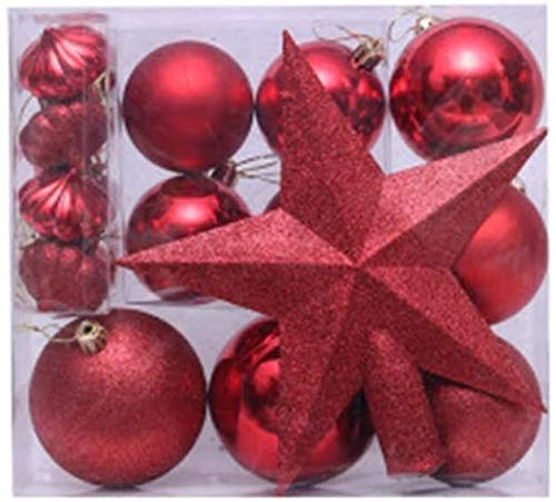 MGE Christmas Ball 18pcs White and Silver Ornaments Plastic Shatterproof Shiny Glitter Hanging Christmas Tree Balls Ornaments Set for Holiday Wedding Party Decoration (Color : Red)