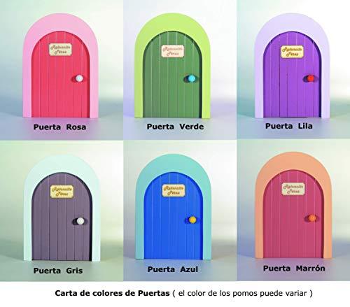 Puerta de la casa del Ratoncito Pérez, artesanía de madera personalizable con nombre + escalera + bolsita tela