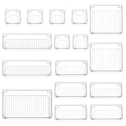 InnoGear Set mit 16 Schreibtischschubladen-Organizer-Tabletts mit 5-Größen-Aufbewahrungsboxen aus durchsichtigem Kunststoff Teiler-Make-up-Organizer für das Büro im Küchenschlafzimmer (transparent)