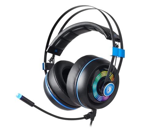 SADES Armor Auriculares USB para Juegos con Realtek Gaming Audio, Auriculares Ligero para Ordenador con micrófono con Aislamiento de Ruido y Control de Volumen y luz RGB