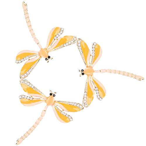 Broche de 3 uds, Broche de libélula, broche de cristal para mujer, regalos de libélula para mujer, boda DIY(Amarillo)