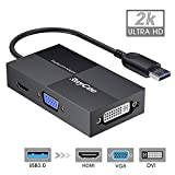 USB to HDMI VGA DVI, External Monitor Adapter, USB 3.0 to VGA Adapter, USB Multiple Monitor Adapter DisplayLink Video Converter 2K Full HD 2048x1152, Compatible for Windows, Mac OS X System [NO Linux]
