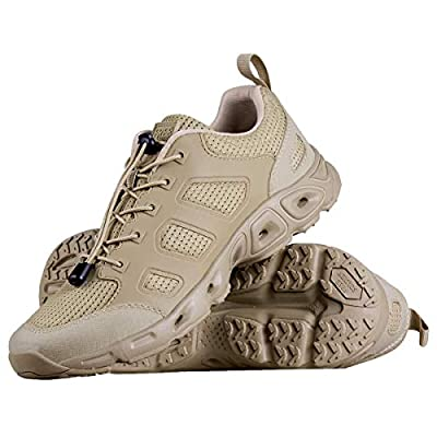 FREE SOLDIER Men's Tactical Shoes Summer Ventilated Ultra Light Quick Dry Hiking Shoes for Water and Dry Land Trekking Tactical Boots (Sand Color, 10 US)