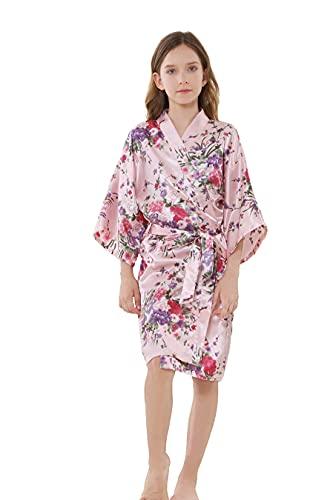 MORFORU Girls Kids Daffodils Silky Satin Kimono Robe for Wedding Spa Party, Short (Pink, Tag 12)