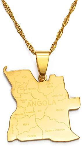 BACKZY MXJP Collar con Nombre De La Ciudad Mapa De Angola Collares Pendientes Color Dorado Joyería Africana Mapas De Países De Angola Collar
